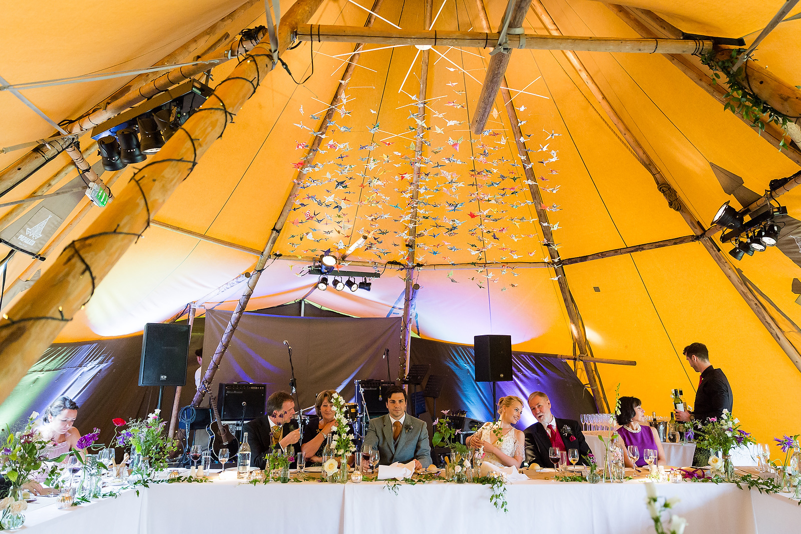 Harriet & William's PapaKåta Teepee Wedding at Gilmerton House captured by First Light Photography- Top Table Styling