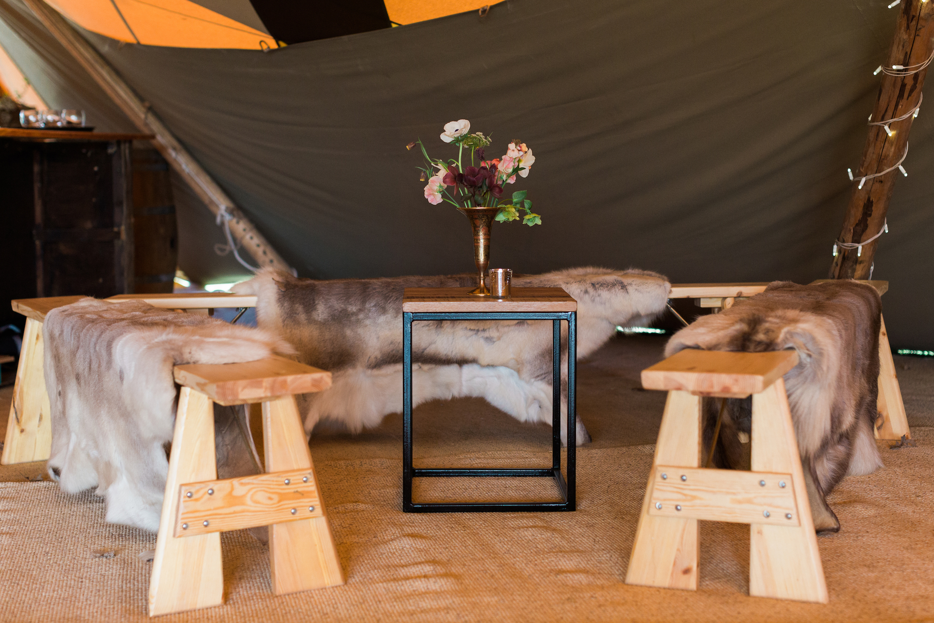 PapaKåta Spring Open Weekend Teepee captured by Lucy Davenport Photography: Chill Out Snug with Reindeer Skins