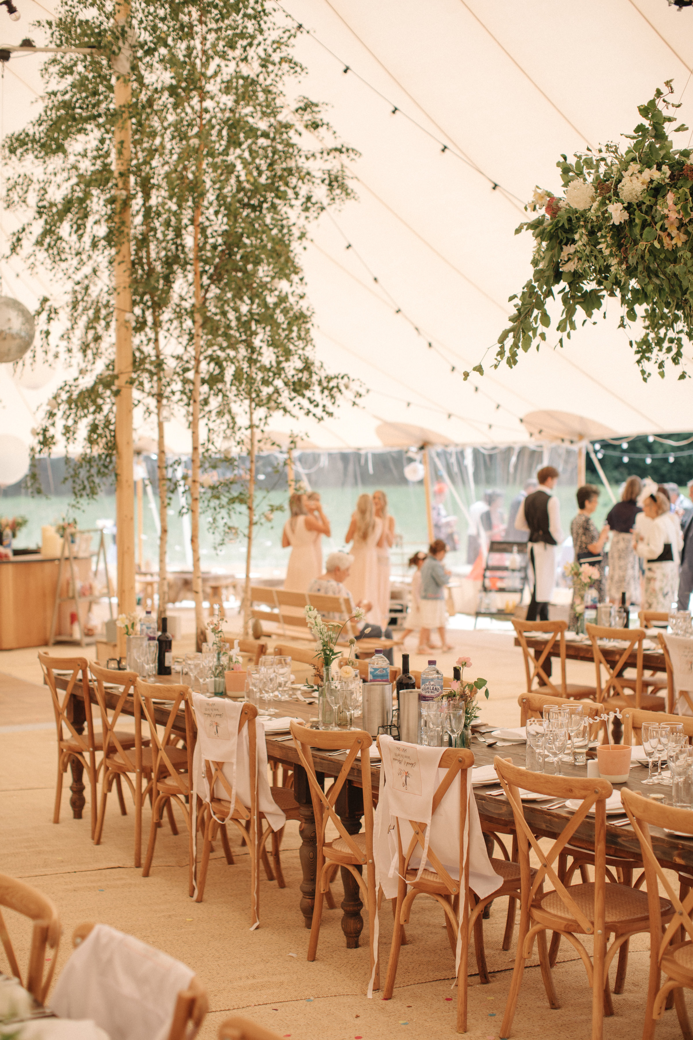 Steph & Ed's PapaKåta Sperry Tent wedding at home in Nottingham captured by M & J Photography: Cross Back Chair