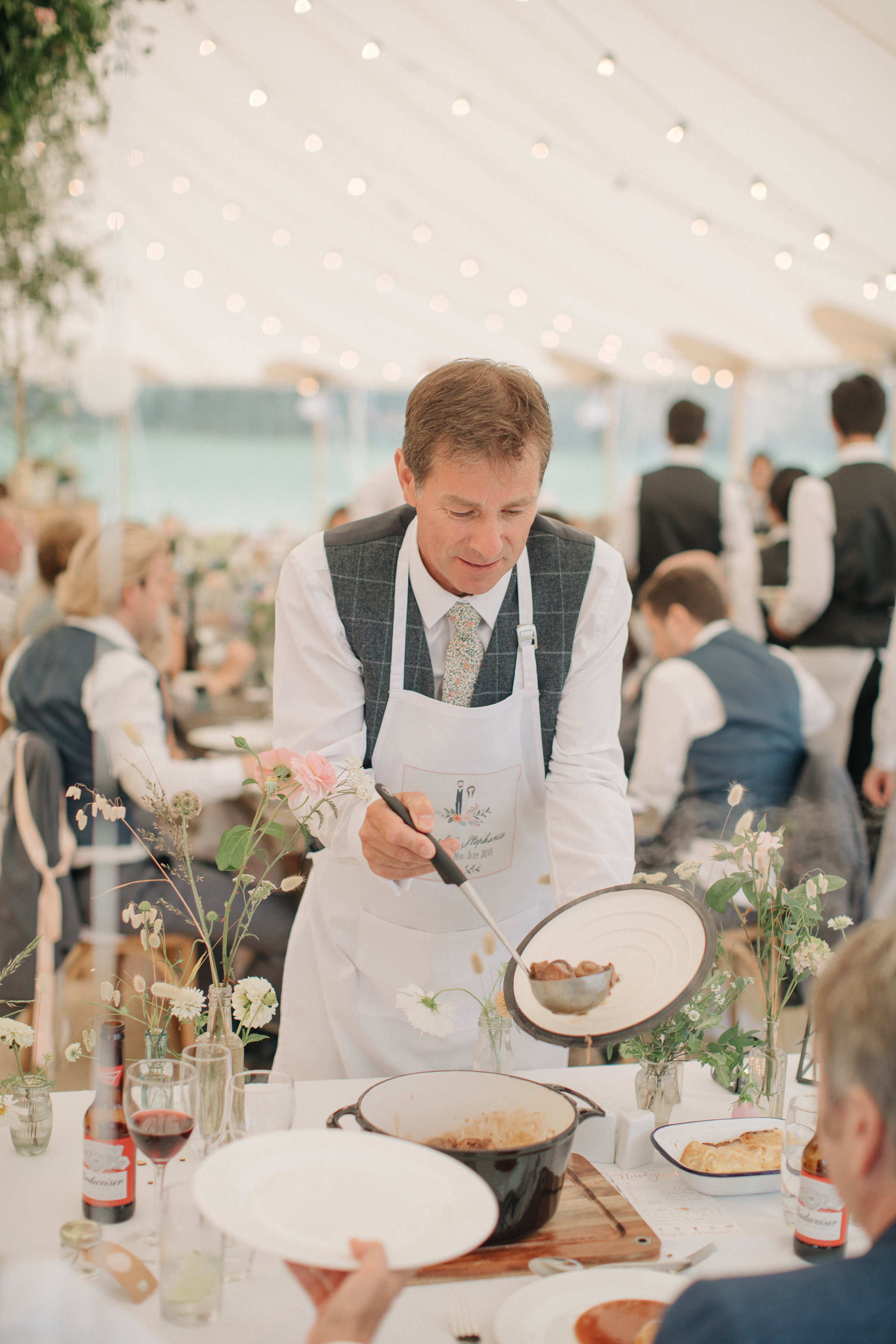 Steph & Ed's PapaKåta Sperry Tent wedding at home in Nottingham captured by M & J Photography: Interactive Wedding Dining