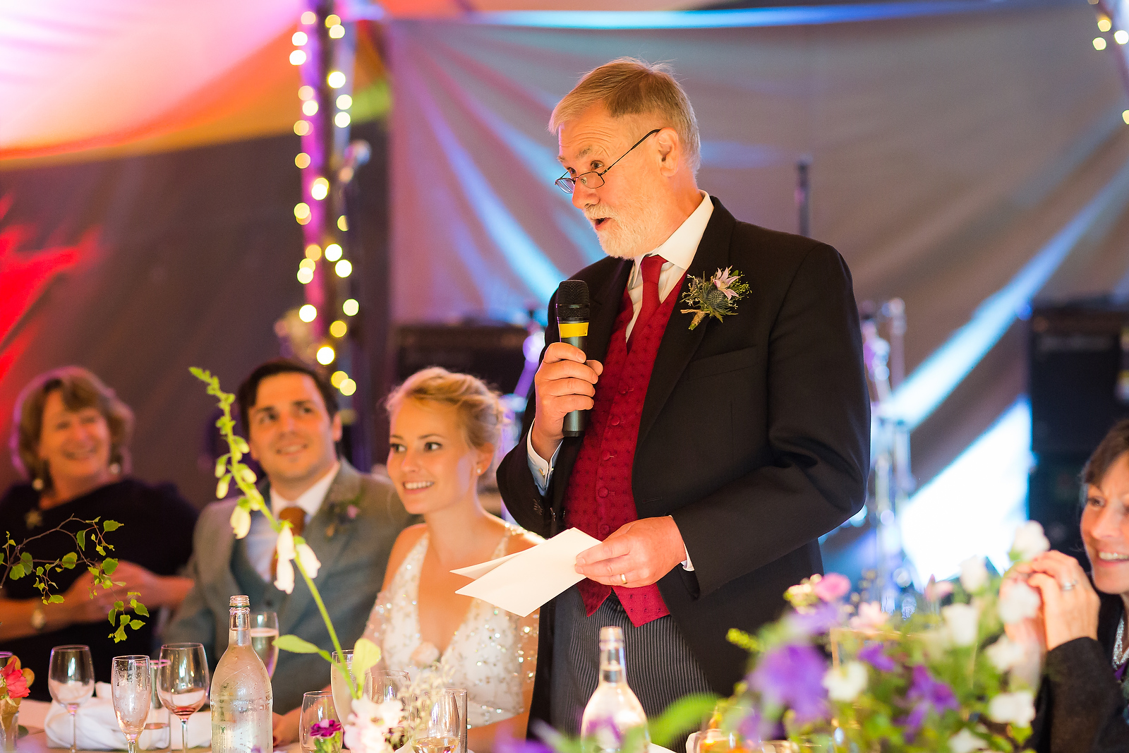 Harriet & William's PapaKåta Teepee Wedding at Gilmerton House captured by First Light Photography- Wedding Speeches
