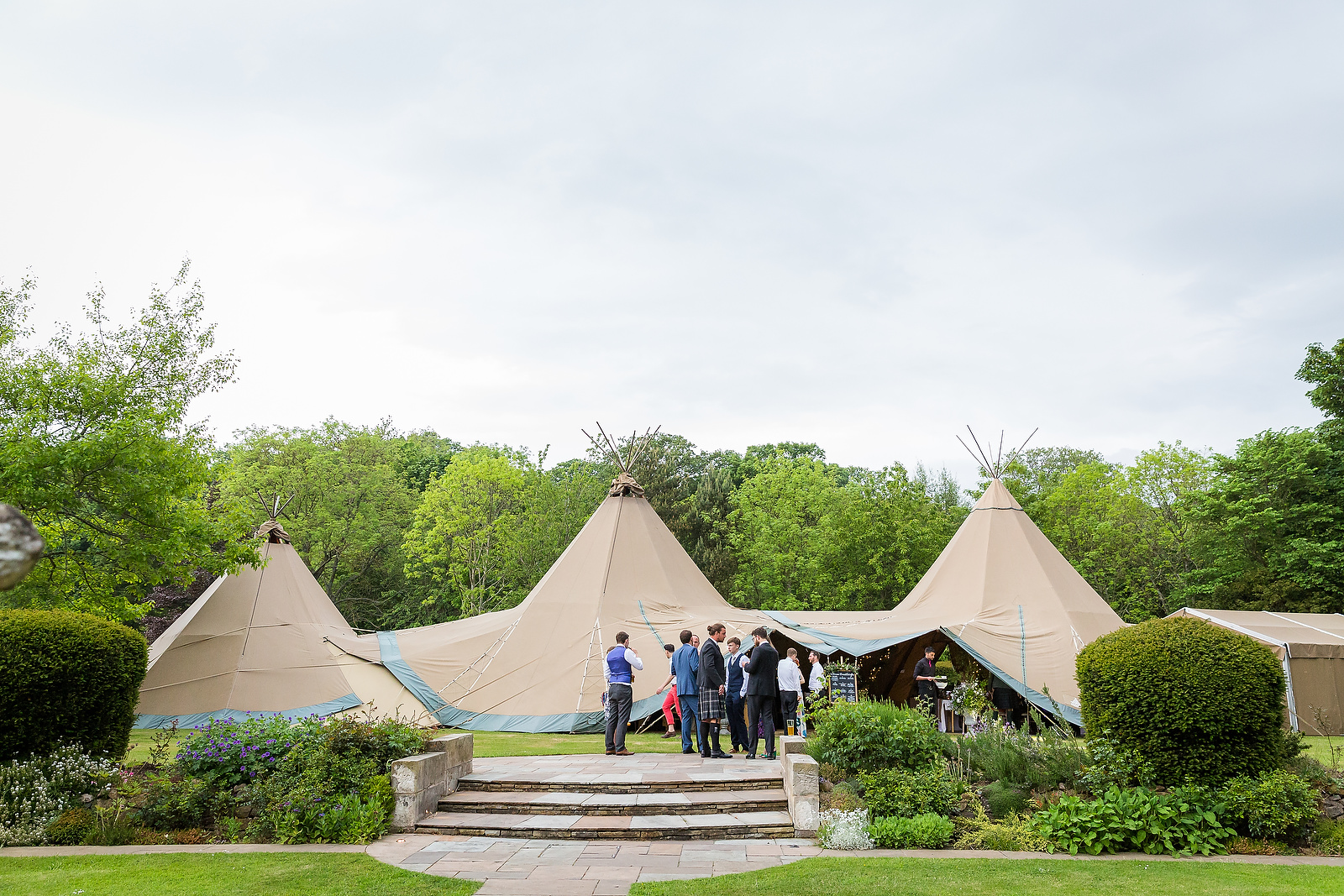 Harriet & William's PapaKåta Teepee Wedding at Gilmerton House captured by First Light Photography- Teepee Exterior