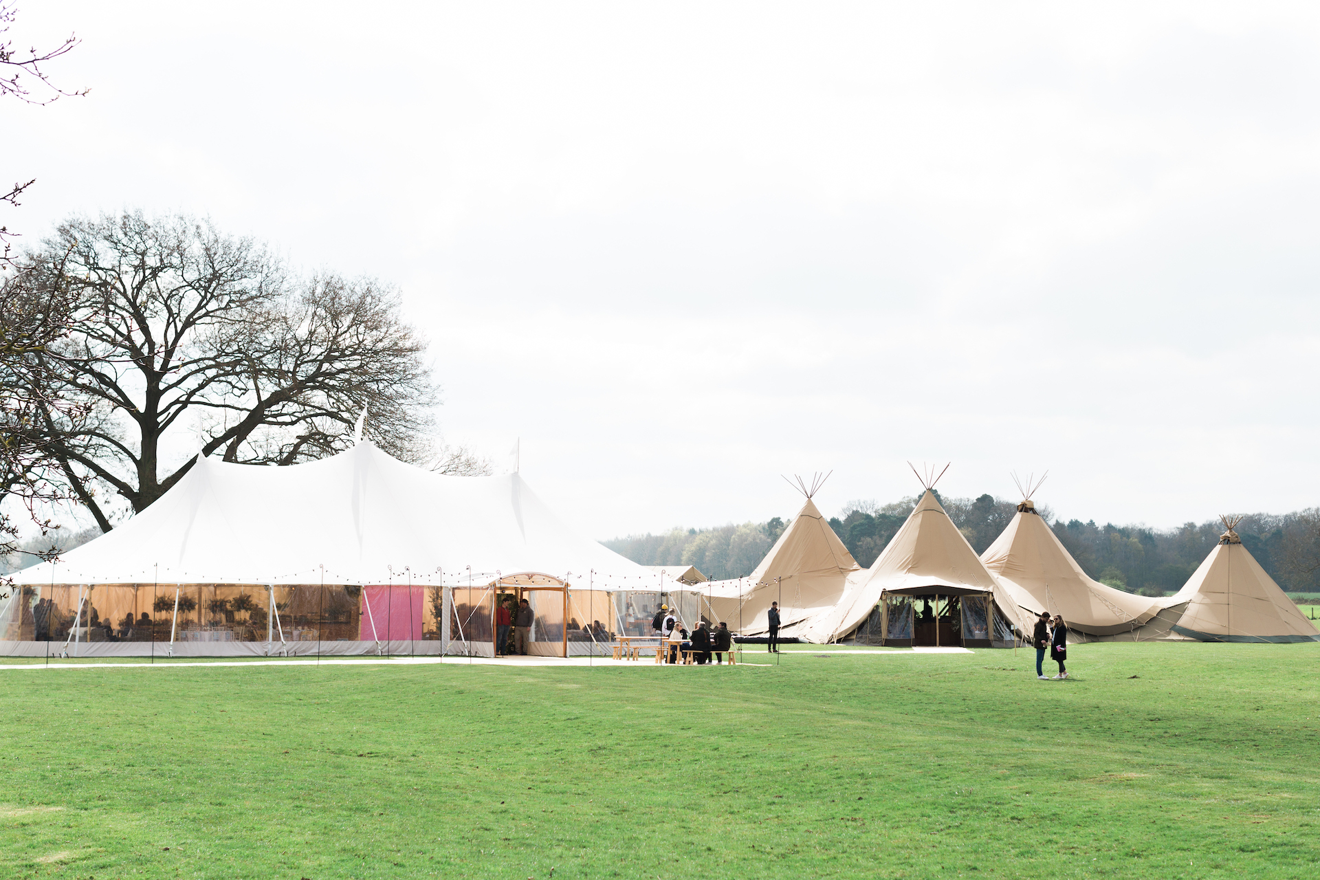PapaKåta Spring Open Weekend Teepee captured by Lucy Davenport Photography: Sperry Tent & Teepee Exterior at Escrick Park Estate