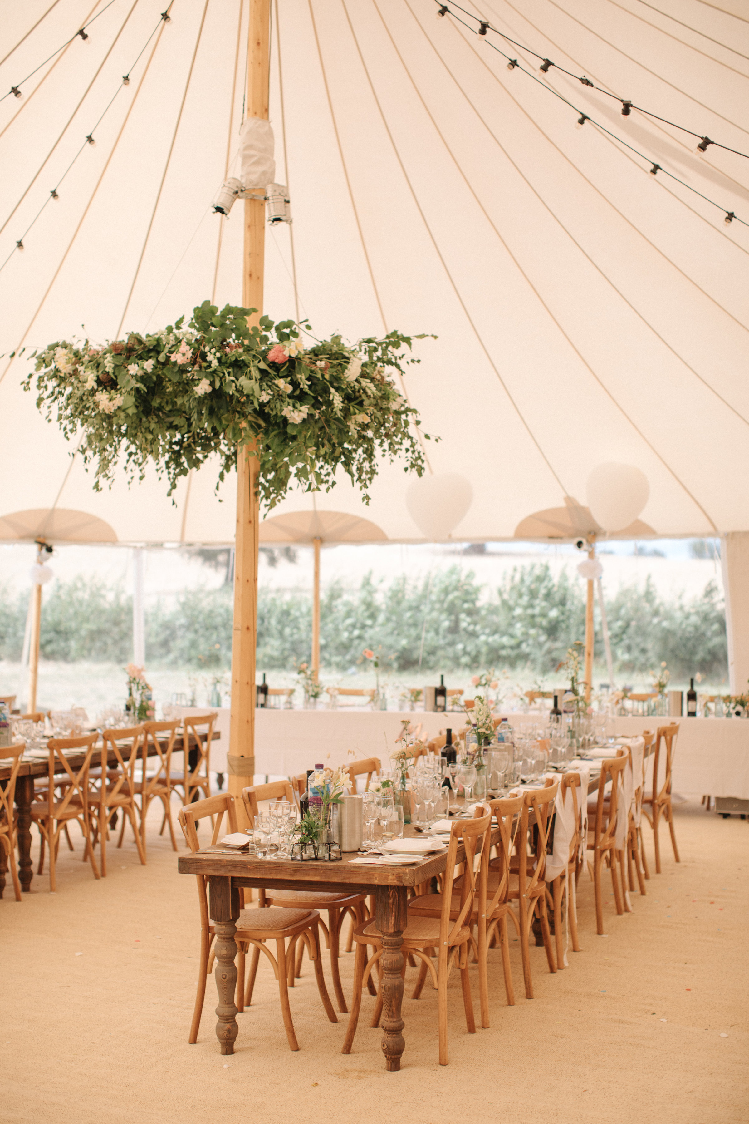 Steph & Ed's PapaKåta Sperry Tent wedding at home in Nottingham captured by M & J Photography: Farmhouse Tables & Cross Back Chairs