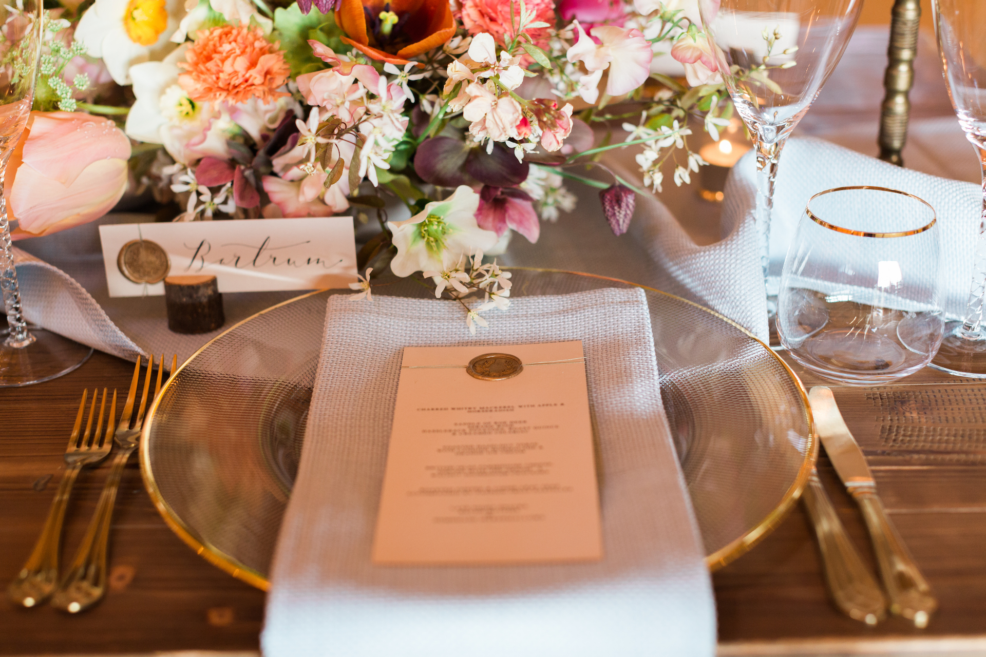 PapaKåta Spring Open Weekend Teepee captured by Lucy Davenport Photography: Farmhouse Tables with floral centrepieces by Aelisabet Flowers, Crockery by White House Event Crockery & Stationery by Lonetree