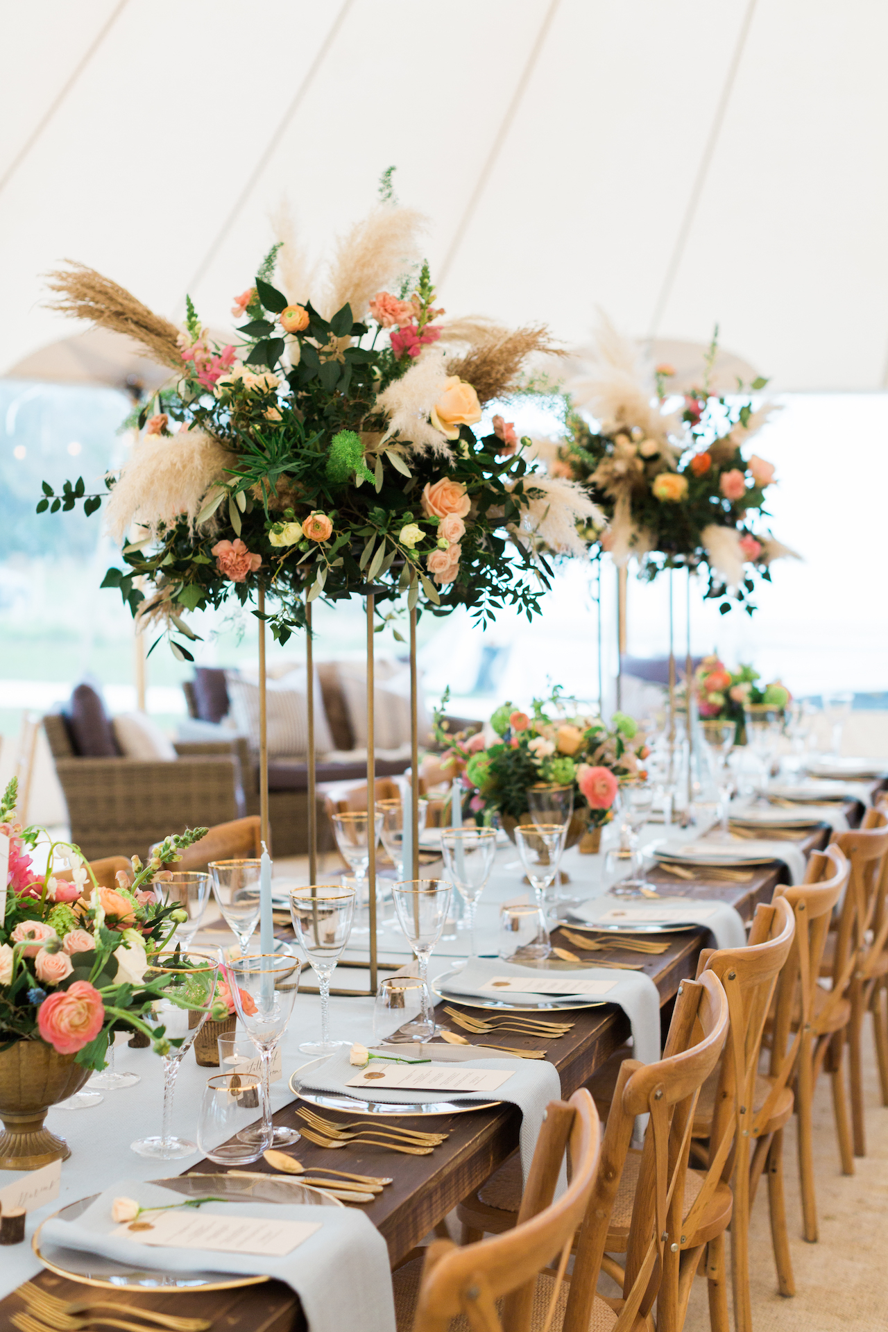 PapaKåta Spring Open Weekend Sperry Tent captured by Lucy Davenport Photography: Cross Back Chairs & Farmhouse Tables