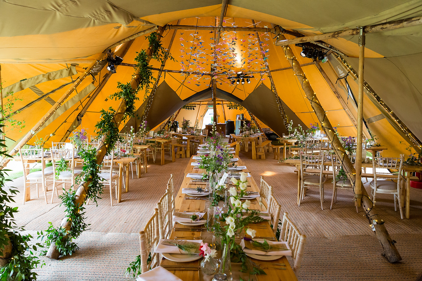 Harriet & William's PapaKåta Teepee Wedding at Gilmerton House captured by First Light Photography- 1,000 origami cranes decoration